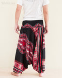 African Dashiki Harem Pants Unisex Low Crotch Yoga Trousers Tribal Red back