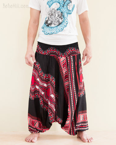 African Dashiki Harem Pants Unisex Low Crotch Yoga Trousers Tribal Red front
