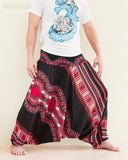 African Dashiki Harem Pants Unisex Low Crotch Yoga Trousers Tribal Red wide