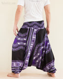 African Dashiki Harem Pants Unisex Low Crotch Yoga Trousers Cool Purple back