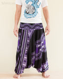 African Dashiki Harem Pants Unisex Low Crotch Yoga Trousers Cool Purple front