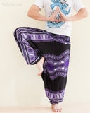 African Dashiki Harem Pants Unisex Low Crotch Yoga Trousers Cool Purple namaste