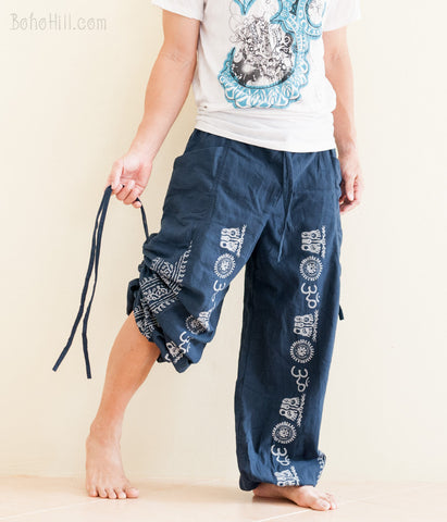 Aladdin Bloomers Convertible to Capri Pants Hindu Om Script Pattern Blue pull