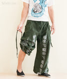 Aladdin Bloomers Convertible to Capri Pants Hindu Om Script Pattern Green pull