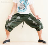 Aladdin Bloomers Convertible to Capri Pants Hindu Om Script Pattern Green shorts