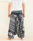 Aztec Elephant Harem Pants Unisex Low Crotch Yoga Trousers Black White back