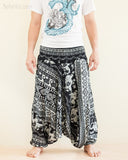 Aztec Elephant Harem Pants Unisex Low Crotch Yoga Trousers Black White front