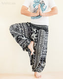 Aztec Elephant Harem Pants Unisex Low Crotch Yoga Trousers Black White namaste