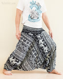 Aztec Elephant Harem Pants Unisex Low Crotch Yoga Trousers Black White side