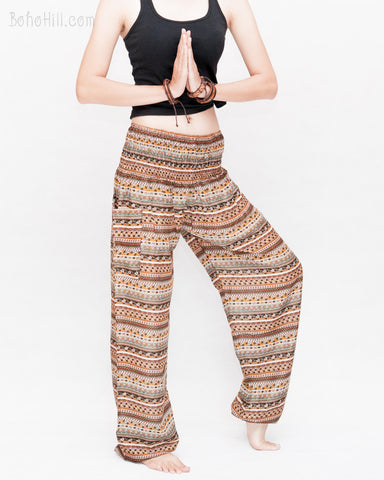 Aztec Tribal Stripes Loose Fit Yoga Pants Genie Harem Pants (Brown) side