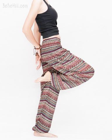 Aztec Tribal Stripes Loose Fit Yoga Pants Genie Harem Pants (Burgundy)