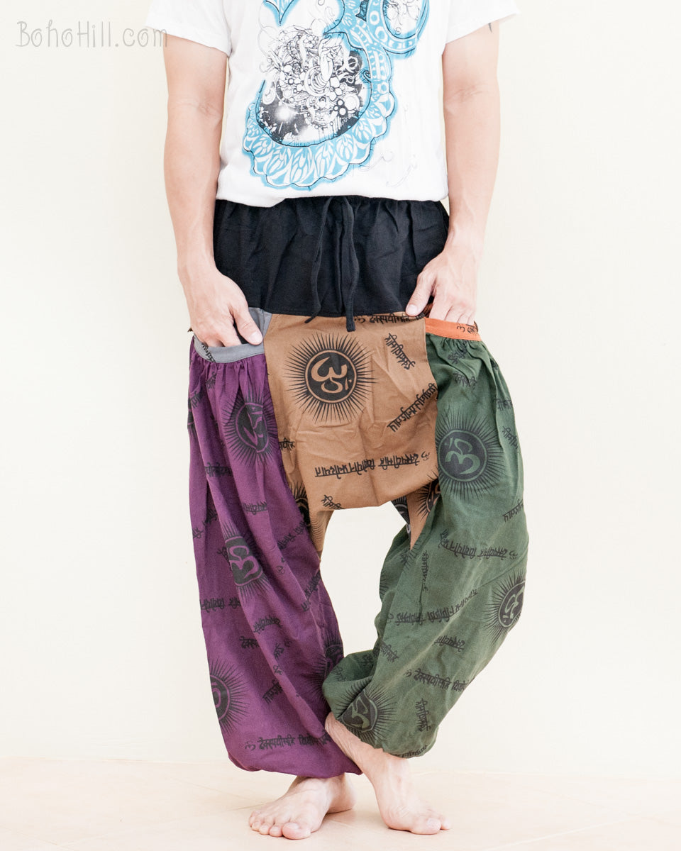 e66fac2b0f baggy-aladdin-bloomers-low-crotch-harem-pants-patchwork-colorful-om-design-comfortable-relaxed-loose-fit-easy-pull-on-big-pockets-purple-brown-green-no18-  ...