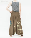 baggy aladdin pants modern tribal mandala comfortable stretch jersey cotton flexible low crotch dance pants convertible romper elastic shirred waist green accent brown back