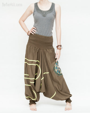 baggy aladdin pants modern tribal mandala comfortable stretch jersey cotton flexible low crotch dance pants convertible romper elastic shirred waist green accent brown front