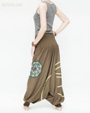 baggy aladdin pants modern tribal mandala comfortable stretch jersey cotton flexible low crotch dance pants convertible romper elastic shirred waist green accent brown twist