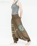 baggy aladdin pants modern tribal mandala comfortable stretch jersey cotton flexible low crotch dance pants convertible romper elastic shirred waist green accent brown walk