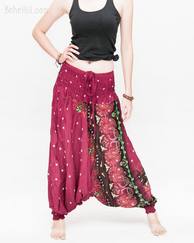 baggy bohemian harem pants gypsy paisley daisy genie yoga trousers shirred waist convert to romper soft rayon burgundy front