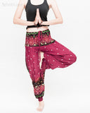 baggy bohemian harem pants gypsy paisley daisy genie yoga trousers shirred waist convert to romper soft rayon burgundy ii tree