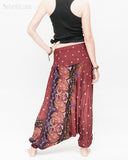 baggy bohemian harem pants gypsy paisley daisy genie yoga trousers shirred waist convert to romper soft rayon reddish brown ii back