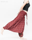 baggy bohemian harem pants gypsy paisley daisy genie yoga trousers shirred waist convert to romper soft rayon reddish brown ii play