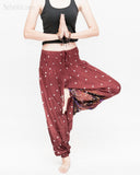 baggy bohemian harem pants gypsy paisley daisy genie yoga trousers shirred waist convert to romper soft rayon reddish brown ii tree