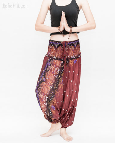 baggy bohemian harem pants gypsy paisley daisy genie yoga trousers shirred waist convert to romper soft rayon reddish brown namaste