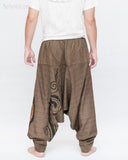 Baggy Harem Pants Textured Cotton Swirl Paint Unisex Aladdin Pants Brown II back