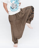 Baggy Harem Pants Textured Cotton Swirl Paint Unisex Aladdin Pants Brown II dance
