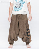 Baggy Harem Pants Textured Cotton Swirl Paint Unisex Aladdin Pants Brown II front