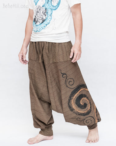 Baggy Harem Pants Textured Cotton Swirl Paint Unisex Aladdin Pants Brown II side