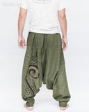 Baggy Harem Pants Textured Cotton Swirl Paint Unisex Aladdin Pants (Green II) back