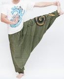 Baggy Harem Pants Textured Cotton Swirl Paint Unisex Aladdin Pants (Green II) dance