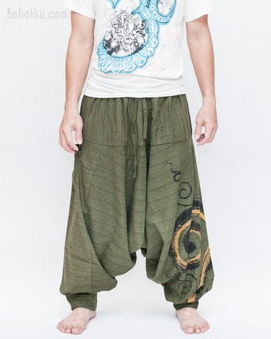 Baggy Harem Pants Textured Cotton Swirl Paint Unisex Aladdin Pants (Green II) front