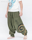 Baggy Harem Pants Textured Cotton Swirl Paint Unisex Aladdin Pants (Green II) side