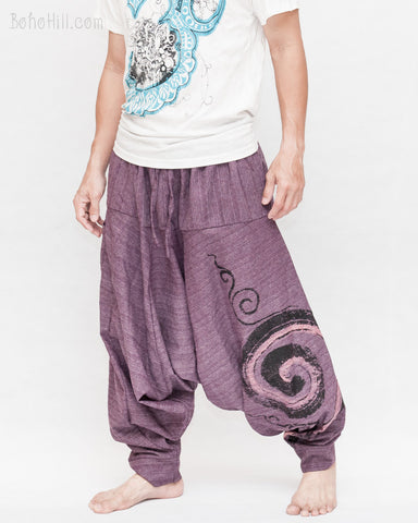 Baggy Harem Pants Textured Cotton Swirl Paint Unisex Aladdin Pants Purple side