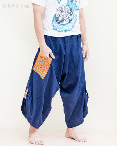 baggy hmong mountain tribal embroidery pocket samurai pants drop crotch warrior active parkour flow trousers shin length navy blue in