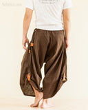 Baggy Hmong Tribal Pocket Samurai Harem Pants Unisex Trousers Brown II back