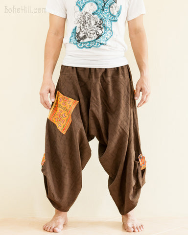 Baggy Hmong Tribal Pocket Samurai Harem Pants Unisex Trousers Brown II front