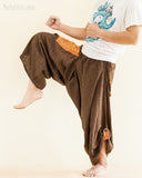 Baggy Hmong Tribal Pocket Samurai Harem Pants Unisex Trousers Brown II kick