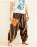 Baggy Hmong Tribal Pocket Samurai Harem Pants Unisex Trousers Brown II side