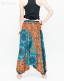 Baggy Yoga Harem Pants Unisex Low Crotch Soft Rayon Smocked Waist (Teal Orange Flora Mandalas II) back