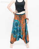 Baggy Yoga Harem Pants Unisex Low Crotch Soft Rayon Smocked Waist (Teal Orange Flora Mandalas II) front