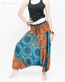 Baggy Yoga Harem Pants Unisex Low Crotch Soft Rayon Smocked Waist (Teal Orange Flora Mandalas II) side