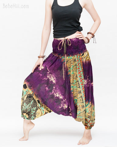 Batik Paisley Harem Pants Unisex Genie Baggy Low Crotch Yoga Trousers Soft Light Rayon Colorful Indian Purple ii right