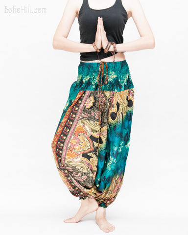 Batik Paisley Harem Pants Unisex Genie Baggy Low Crotch Yoga Trousers Soft Light Rayon Colorful Indian Turquoise II namaste