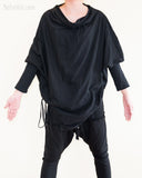 Batwing Jacket Diamond Shaped Long Sleeves Unisex Tunic Jersey Cotton Black front