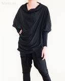 Batwing Jacket Diamond Shaped Long Sleeves Unisex Tunic Jersey Cotton Black relax