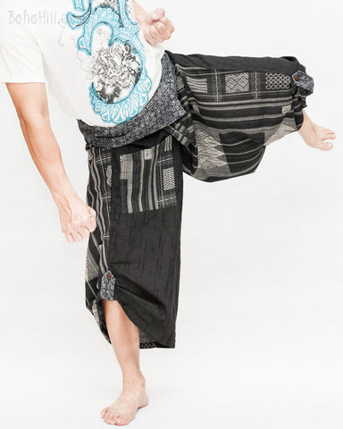 black samurai pants tribal diamond weave stripes aizome indigo dye wrap waist ninja harem hakama trousers size m l kick