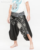 black samurai pants tribal diamond weave stripes aizome indigo dye wrap waist ninja harem hakama trousers size m l side