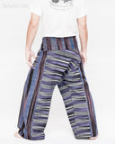blue purple stripe high quality thai fisherman pants waterfall design wrap around fold over waist loose fit yoga trousers one of a kind handwoven cotton jm5 back